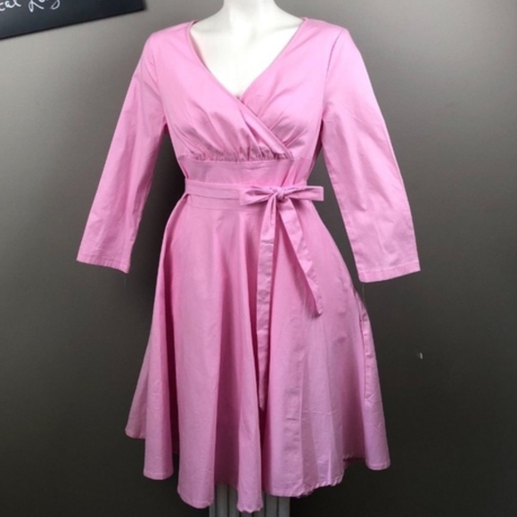 092ccaad79d56 Sisjuly Pink XL NEW Retro Dress Pink 50's V neck NWT